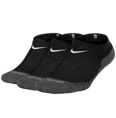 NEW Nike Youth 3 Pack Dry Cushioned No Show Socks SX5573-010 Black S 3Y-5Y