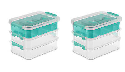 Sterilite 1422 Stack And Carry 2 Layer Handle Box Storage Container Clear 3-Pack