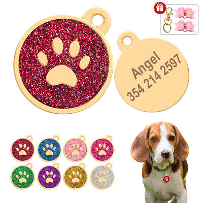 Glitter Personalized Dog ID Tags Custom Pet Cat Name Engraved Gold Disc Hair Bow