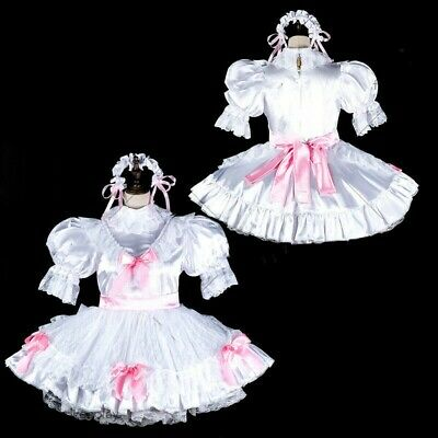 Details about  /lockable Sissy maid satin dress cosplay costume Tailor-made @