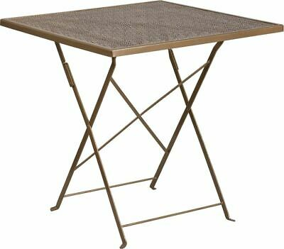 "Modern Commercial Grade 28"" Square Gold Indoor/Outdoor Steel Folding Patio Table"