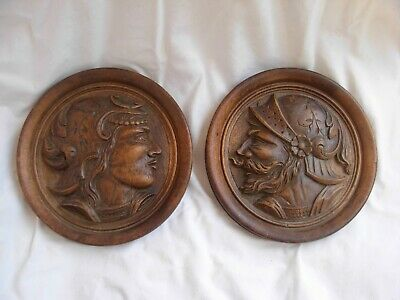 PAIR OF ANTIQUE FRENCH HAND CARVED WALNUT WOOD PANELS,LATE 19th CENTURY.