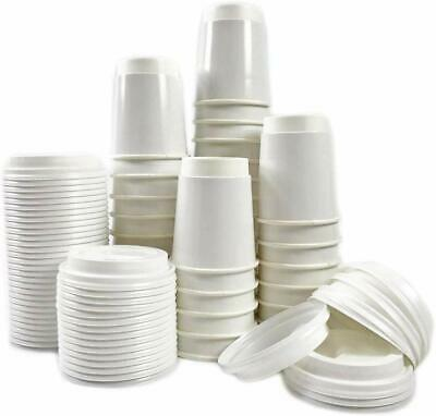 12oz White Disposable Paper Coffee Cup (Single Wall) Bundle With White Lids
