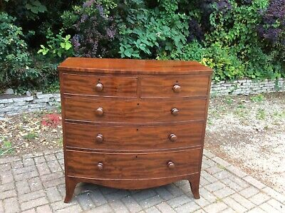 Large Antique Victorian Mahogany Bow Chest of Drawers c.1850