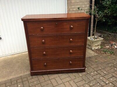 Large Antique Victorian Mahogany Chest of Drawers - Drop down front