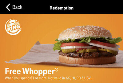 Burger King Free Whopper Code In App Read Description (Must Spend $1+ To Redeem)