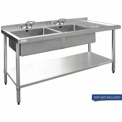 Vogue Double Bowl Sink R/H Drainer - 1500mm 90mm Drain HC904 [L3F4]