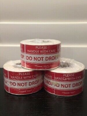 "(3-Rolls 500 Labels) 1500 2x3"" Sticker **Please Handle With Care--DO NOT DROP**"