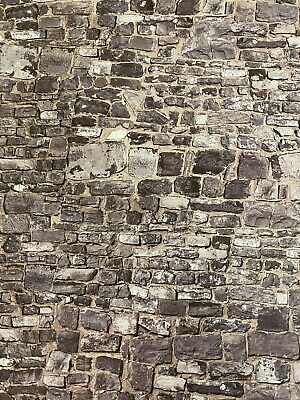 1//12 Dolls House Old Stone Brick Wall Embossed A3 Wallpaper Card DIY798B
