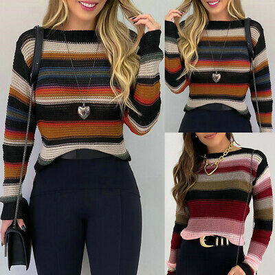 UK Womens Striped Sweater Long Sleeve Slim Fit Jumper Ladies Knitted Shirts Tops