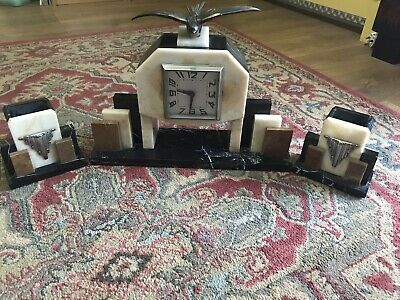 Art deco marble clock and garnitures, Clock needs Repairing And Stud Missing