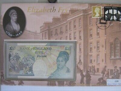 2002 Elizabeth Fry Commemorative Banknote Cover (Gb/England) £5 Banknote/Stamps