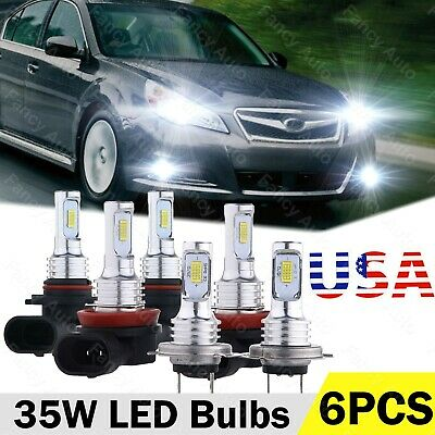 For Subaru Legacy Outback 2010-2012 9005 H7 H11 LED Headlight Fog Light Bulb Kit