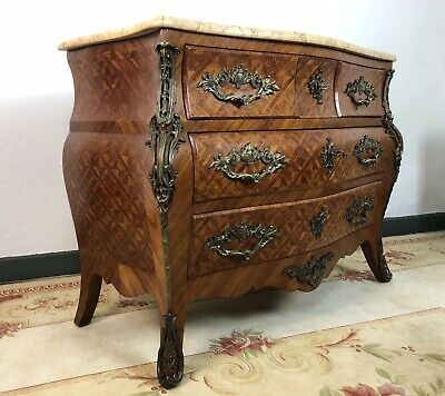 Stunning French Bombe Commode Chest Of Drawers Marble Ormolu Louis XV Style
