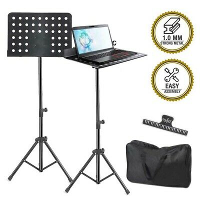 Foldable Music Stand Sheet Holder Adjustable Tripod Base Metal with Carry Bag