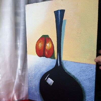 Acrylic Oil Painting On Canvas Stretched in a Wood Frame With Large Vase& Fruit