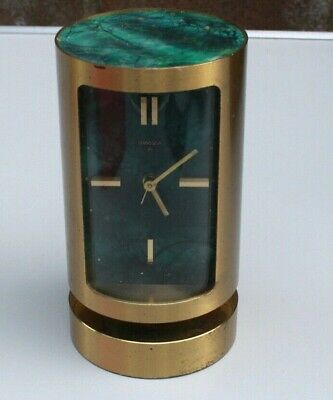Vintage Swiza 8 day brass and green marble cylindrical alarm carriage clock.