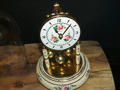 400 day anniversary Antique  clock  Kern & Sohne cream enamel  brass Glass dome