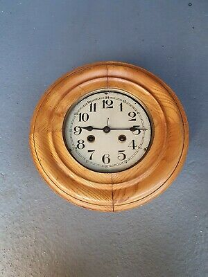 Vintage wood wind up Wall Clock rare unique project spares repairs un finished