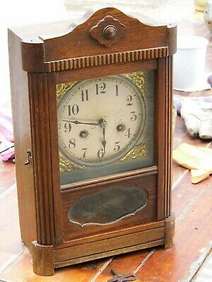 Antique 1920s Large Chiming Mantel Clock - Glazed - Key - Decorative