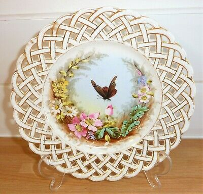 Vintage Antique Porcelain China Cabinet Plate Hand Painted Butterfly Reticulated
