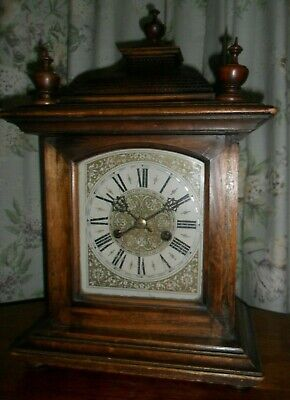 Antique wooden 14 day HAC mantle clock chiming working order