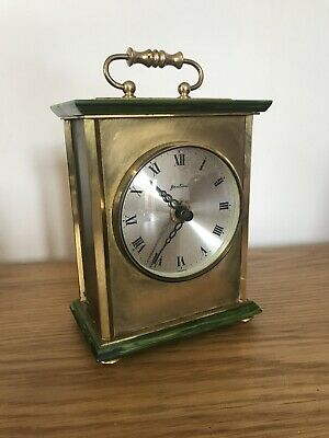 Vintage Bentima Brass And Faux Marble Carriage Mantle Clock