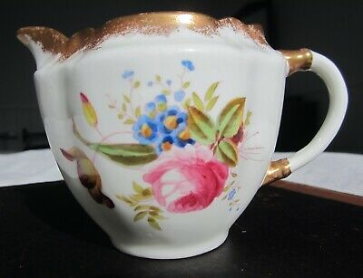 Porcelain jug hand-painted flowers & gold cream/milk VGC Antique Victorian