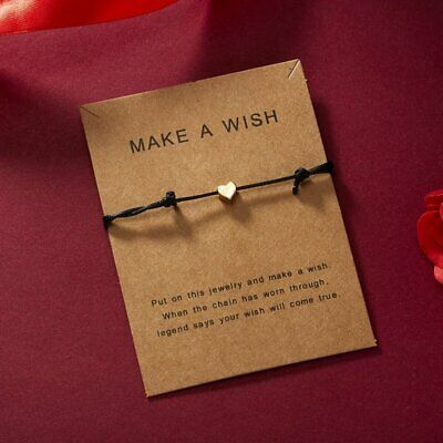 Lucky Heart Wish Bracelet Black Rope Bangle Friendship Couple Card Jewelry Gifts