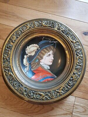 Antique Hand Painted German Porcelain Portrait Plaque
