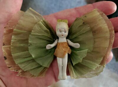 ANTIQUE 1920's Bisque Miniature Doll w/ Butterfly Wings Fairy Ornament