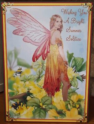 handmade Pagan Summer Solstice Card with sunset fairy & bees design
