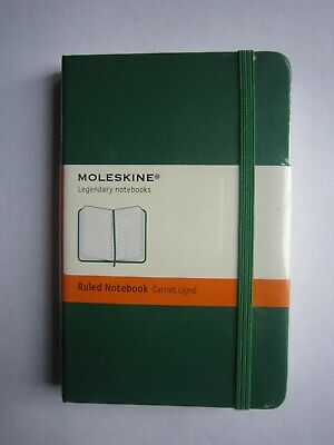 MOLESKINE HARD COVER RULED NOTEBOOK GREEN SMALL 9X14CM**NEW FREE P/&P**