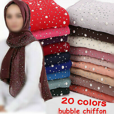 Muslim ladies scarf muslim women eid wedding hijab Large Pearls scarf UK seller