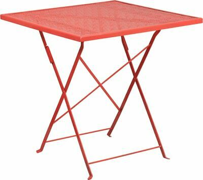 "ModernCommercial Grade 28"" Square Coral Indoor/Outdoor Steel Folding Patio Table"
