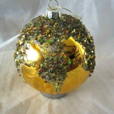 Large Gold Ball Christmas Ornament Holiday Sparkling Glitter
