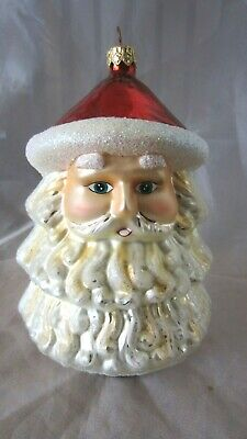 Large Santa Head Christmas Tree Ornament Holiday Sparkling Glitter