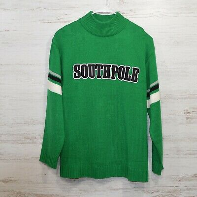 Vintage Southpole Green Varsity Style Pullover Sweater Mock Turtle Neck Large