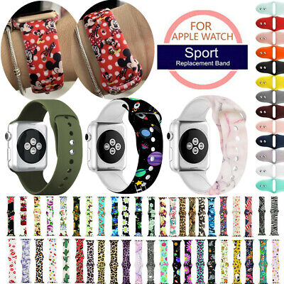 Mickey Mouse Leopard Floral Printed Silicone Strap Band For Apple iWatch 5 4 321