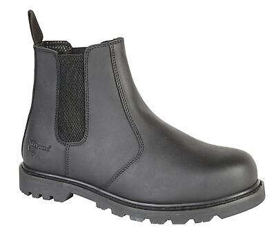 Grafters M9568B Unisex Mens Womens Leather Dealer Chelsea S3 Safety Boots Black