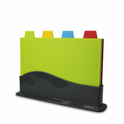 Set Of 4 Plastic Color Coded Chopping Board Non Slip Kitchen Food Cutting Boards