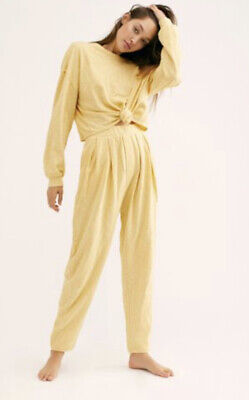 NEW Free People Culver City Set Size Medium Yellow Top & Pants