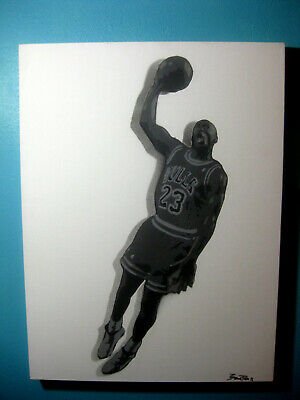 Michael Jordan Flying Slam Dunk Basketball Great Original Painting by Beau Pope