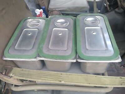 Cambro UPCS180  stainless pans, lids and seals (3) MILITAARY MESS HALL COOK OUT