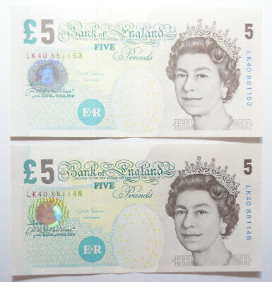 Bank of England: 2 x £5 Pounds banknotes in AUNC condition. Chris Salmon.