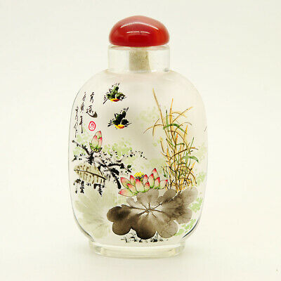 Inner Painting Snuff Bottle Chinese Antique Delicate Fragrance Red Plum Flower