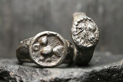 Ancient Primitive Signet Lead Rings, Archaeological Find, 1th-5th Century AD.