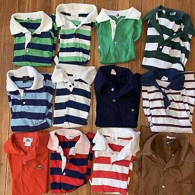 LOT of 12 True Vintage 1970s Kid's Rugby Striped Shirts boys sz 14 16 Retro