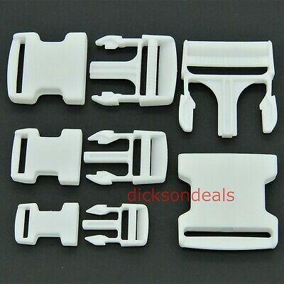 White Delrin Plastic Side Release Buckles Clips for Webbing Straps Bags  20-50mm