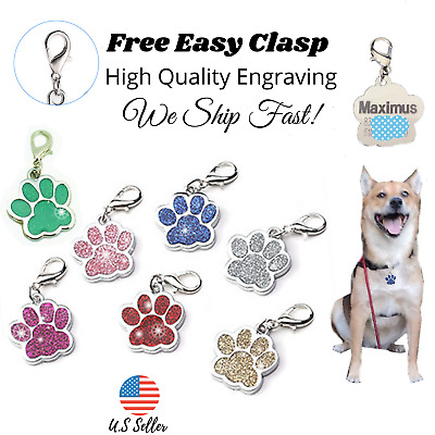 Sparkle Paw Dog Tag Charm Key chain Puppy Kitten ID Name Engraved Personalized
